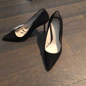 Zara black suede leader heels